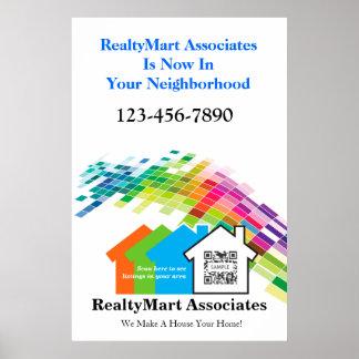Agentes inmobiliarios de la casa de la plantilla póster
