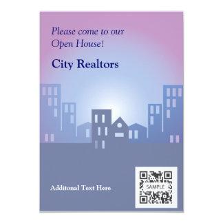 Agentes inmobiliarios de la ciudad de la plantilla invitación 12,7 x 17,8 cm