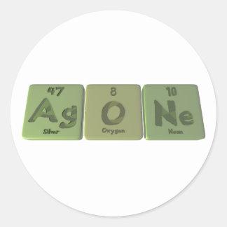 Agone-AG-o-Ne-plata-oxígeno-Neón Pegatinas Redondas