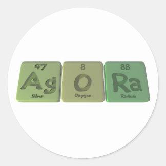 Ágora-AG-o-Ra-plata-oxígeno-Radio Etiquetas Redondas