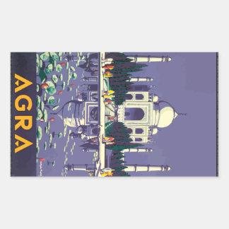 Agra, vintage pegatina rectangular