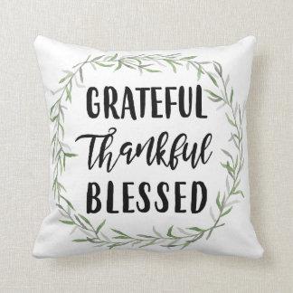 Agradecido, agradecido, bendecido cojín decorativo