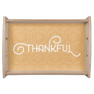 Agradecido • Bandeja elegante linda de madera del