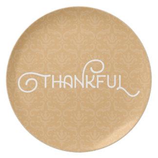 Agradecido • Placa linda del damasco del otoño Plato