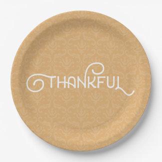 Agradecido • Placas lindas del damasco del otoño Plato De Papel