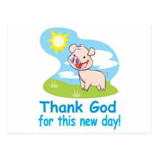 Agradecimiento de dios por este nuevo día con el postal