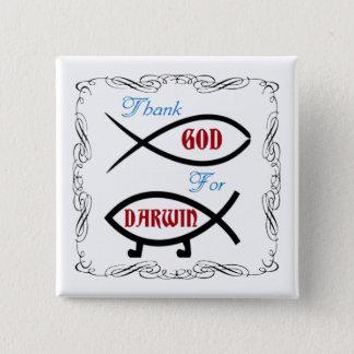 Agradezca a dios por Darwin botón del cuadrado de