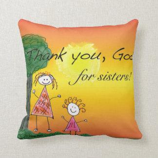 Agradezca a dios por hermanas - almohada