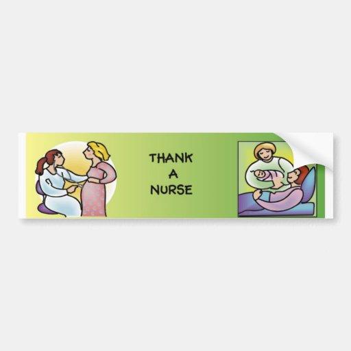Agradezca a una enfermera - maternidad pegatina para coche