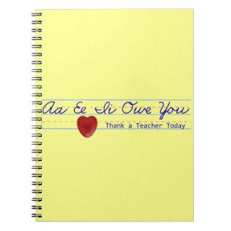 Agradezca un cuaderno del profesor