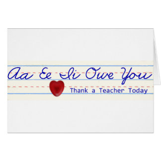 Agradezca una tarjeta de felicitación del profesor