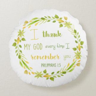 Agradezco mi almohada cristiana de la biblia de cojín redondo