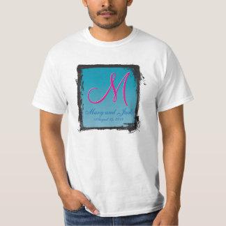 agua azul del monograma 3d camiseta