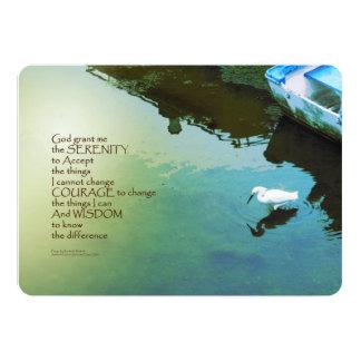 Agua del rezo de la serenidad y pájaro blanco invitación 12,7 x 17,8 cm
