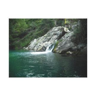 Agua, rio español montaña.Water, spanish river Impresión En Lienzo