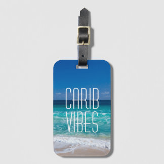 Agua tropical de la turquesa de la playa de la etiqueta para maletas