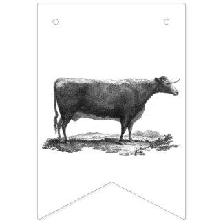 Aguafuerte de la vaca del vintage banderines