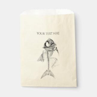 Aguafuerte esquelética de los pescados del vintage bolsa de papel