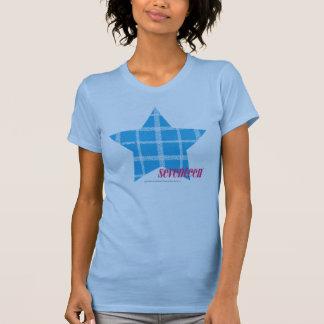 Aguamarina 3 de la tela escocesa camiseta