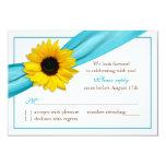 Aguamarina amarilla Blue Ribbon del girasol que Invitaciones Personalizada