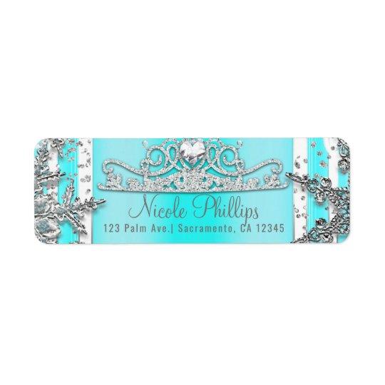 Aguamarina azul y copos de nieve de plata del país etiqueta de remite