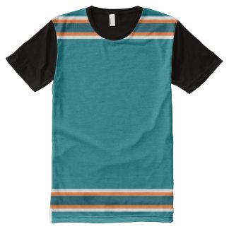 Aguamarina con el ajuste anaranjado y blanco camiseta con estampado integral