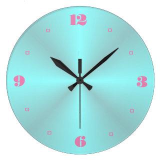 Reloj Redondo Grande Aguamarina con los relojes llanos rosados de la