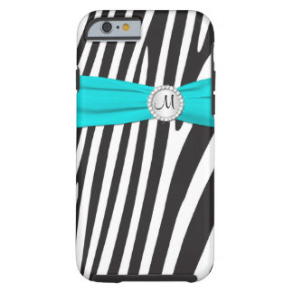 Aguamarina con monograma, negro, cebra blanca funda de iPhone 6 tough