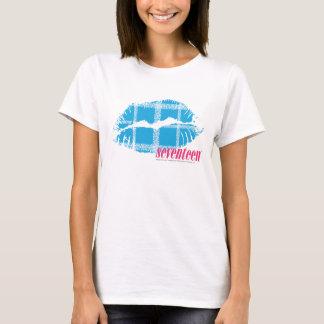 Aguamarina de la tela escocesa camiseta