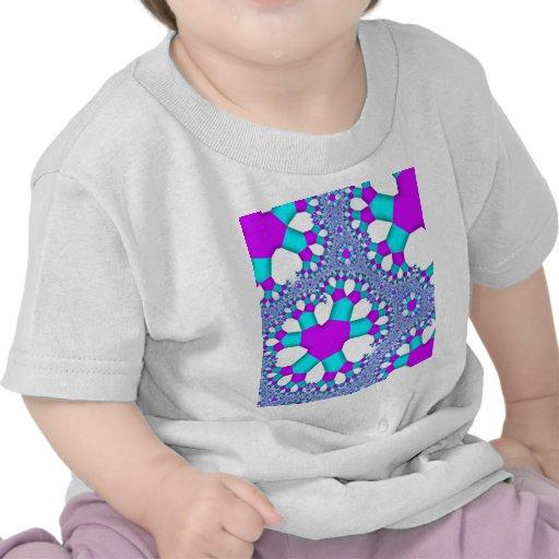 Aguamarina de la turquesa y arte púrpura del fract camiseta