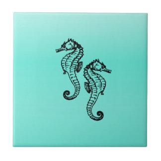 Aguamarina de los Seahorses Azulejo Cuadrado Pequeño