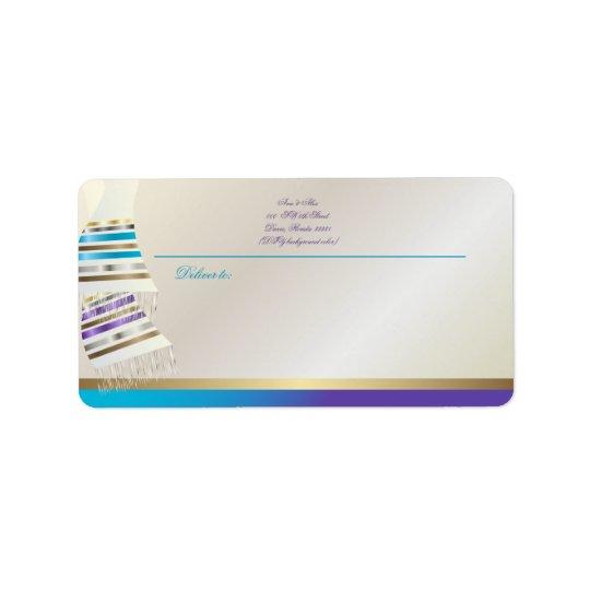 Aguamarina de PixDezines del ✡/Tallits púrpura Etiquetas De Dirección