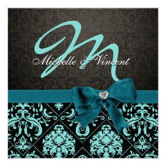 Aguamarina elegante azul/monograma negro del damas invitacion personalizada
