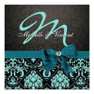 Aguamarina elegante azul/monograma negro del invitacion personalizada