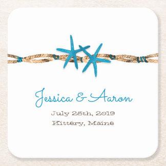 Aguamarina estrellas de mar y boda de la cuerda posavasos de papel cuadrado