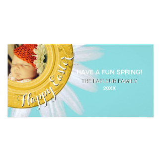 Aguamarina floral feliz de la margarita de la tarjeta personal con foto