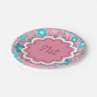 Aguamarina floral moderna y rosa plato de papel