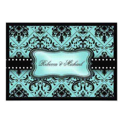 Aguamarina hermosa azul y damasco negro del vintag anuncios