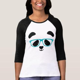 Aguamarina linda de la cara de la panda camiseta