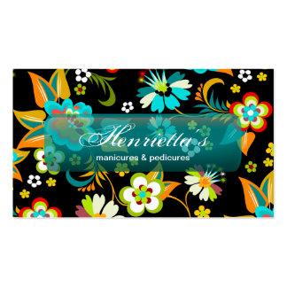 Aguamarina linda del vintage en floral negro plantilla de tarjeta de negocio