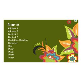 Aguamarina linda del vintage en floral verde plantilla de tarjeta de negocio