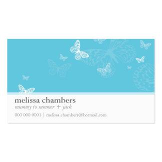 Aguamarina linda simple de la mariposa de la tarjetas de visita
