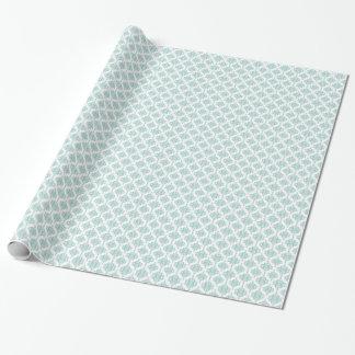 Aguamarina linda y modelo blanco del damasco del papel de regalo