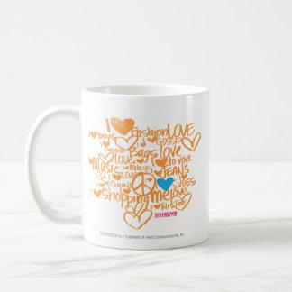 Aguamarina/naranja de la pintada taza de café