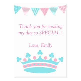 Aguamarina rosada de princesa Thank You Tag Label Tarjetas De Visita Grandes