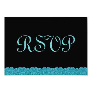 Aguamarina y cordón negro RSVP que casa respuesta Invitación 8,9 X 12,7 Cm