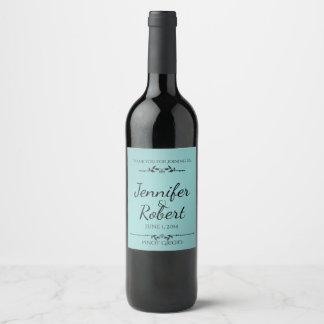 Aguamarina y etiqueta elegante del vino del negro