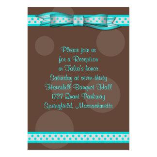 Aguamarina y tarjeta de la recepción de Mitzvah Tarjetas De Visita Grandes