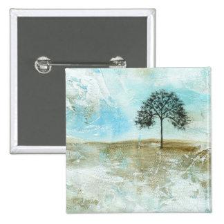 Aguantaré arte solitario del árbol del paisaje chapa cuadrada 5 cm