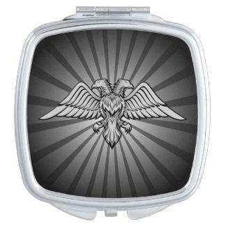 Águila gris con dos cabezas espejos para el bolso